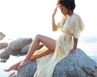 Bohemian wrap dress - Sheer silk chiffon maxi - Made to order / Custom dress - Resort Alternative wedding