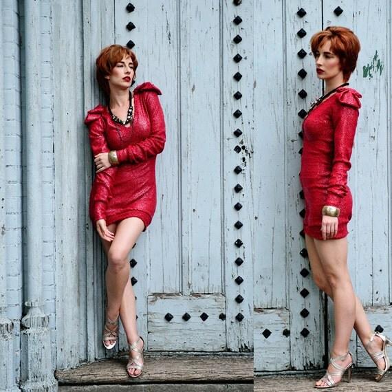 Lady in Red Sweater dress - Long sleeve holiday dress / custom sizing, xsmall, small, medium, large, xlarge