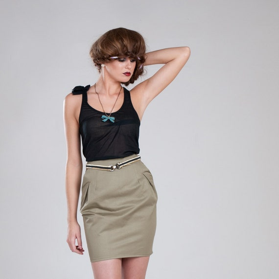 Audrey Skirt - Summer Sale / Eco fashion organic cotton Olive tapered pencil skirt / Xsmall, small, medium, large, xlarge, made to measure