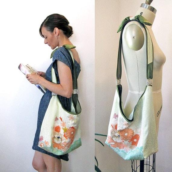 Boho Kimono large shoulder bag - One of a kind Vintage kimono silk and organic cotton canvas