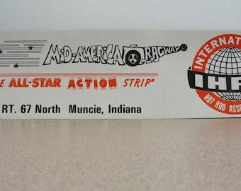 International Hot Rod Association vintage bumper sticker, auto racing, car collectors, all star nationals. ihra, muncie Indiana, drag racing