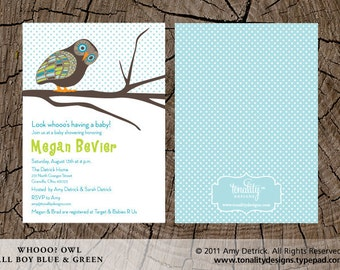 Owl Baby Shower Invitation — Baby Shower Invite — Baby Boy Shower Invite — Gender Neutral Shower Invitation