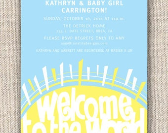 Baby Shower Invitation — Welcome Sunshine Invite — Sunshine — Gender Neutral Baby Shower Invitation — Sun, Yellow, Clouds