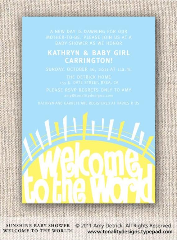 Baby Shower Invitation — Welcome Sunshine Invite — Sunshine — Gender Neutral Baby Shower Invitation —Sun, Yellow, Clouds