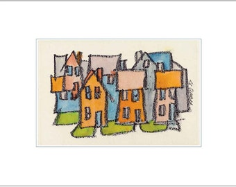 Cityscape - Whimsical Fine Art Print - City Neighborhood Houses - Colorful Stylized Affordable Wall Decor