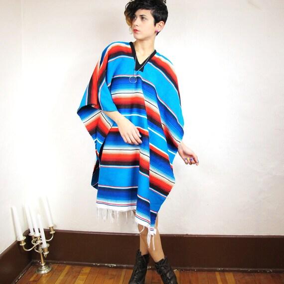 Colorful Southwest Striped Fringe Poncho (One Size)