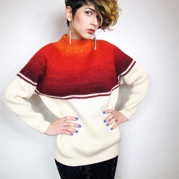 S A L E 60s Ombre Fire Classic Striped Wool Sweater (XS/S)