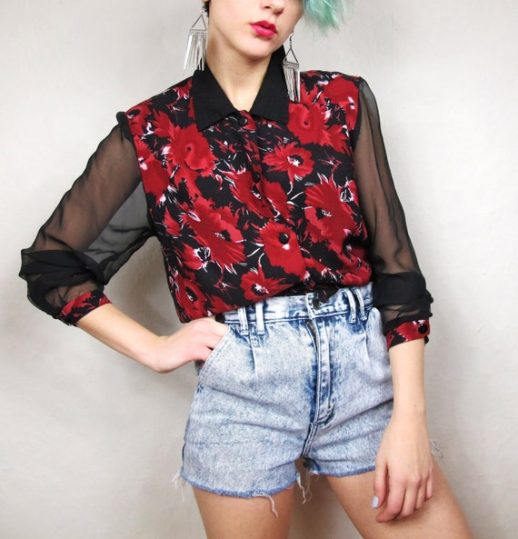 90s Sheer Sleeves Poppy Red Color Block Blouse (S)