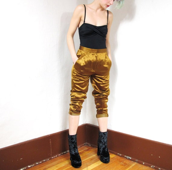 90s Metallic Gold DKNY Silk High Waist Pants (XS)