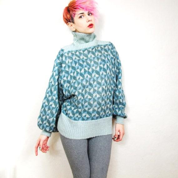 70s Triangle Pattern Metallic Knit Sweater (S/M)