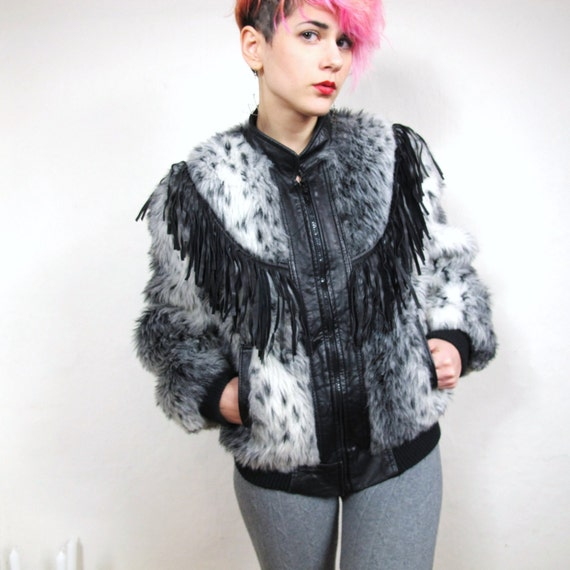 70s Snow Leopard Leather Fringe Faux Fur Bomber Jacket (S)