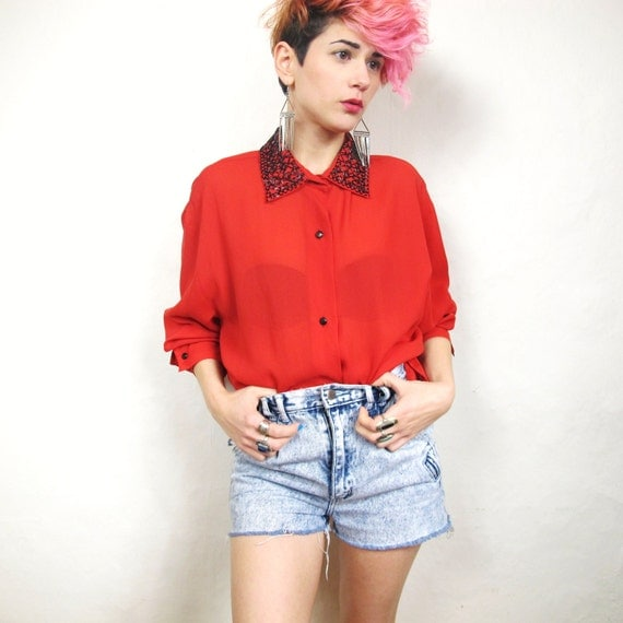 80s Sheer Red Beaded Collar Blouse (L/XL)