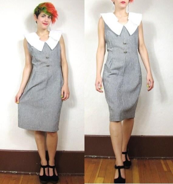 S A L E 80s Checkered Picnic Rockabilly Dress (L/XL)