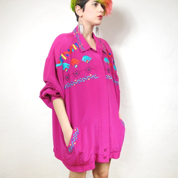 80s Neon Pink Tribal Embroidered Silk Jacket (XL)