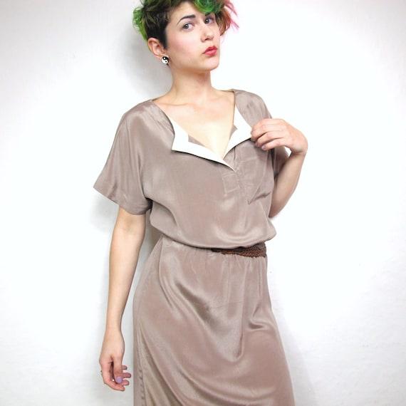 70s Coffee Taupe Silk Shirt Dress (S/M)