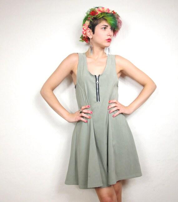 90s Light Green Scuba Skater Dress (S)