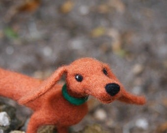 Orange Needle Felted Dachshund Mini Sculpture - made to order