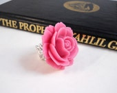 Pink Rose Ring Blush Pink Flower Ring Spring Flower Ring Big Ring Floral Jewelry Cocktail Ring Pink Jewelry Women Romantic Jewelry