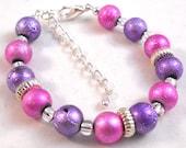 Little Girl Bracelet Pink and Purple Kids Jewelry