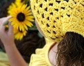 Crochet Kerchief Yellow Hair Accessory for Tweens Teens Headband Alternative Boho Hair Accessories