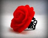 Red Rose Ring on Black filigree Gothic Wedding Jewelry