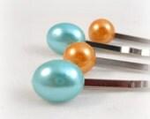 Blue and Orange Bobby Pin Set Teen Tween Hair Accessories