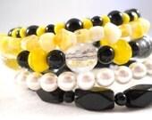 Bracelet Set, Black Yellow White, Beaded Bracelet, Teen Bracelet, Layered Bracelet, 5 Wrap Bracelet, Gifts for Teen Girls, Memory Wire
