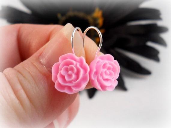 Pink Flower Earrings for Teens Women Tween Earrings Cute Earrings Spring Earrings Bright Pink Earrings Simple Dangle Earrings Teen Jewelry
