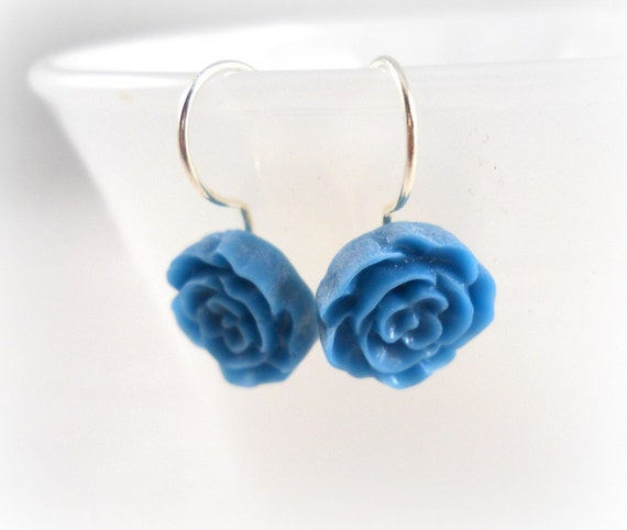 Blue Flower Earrings Dangle Tween Girls Teen Jewelry Denim
