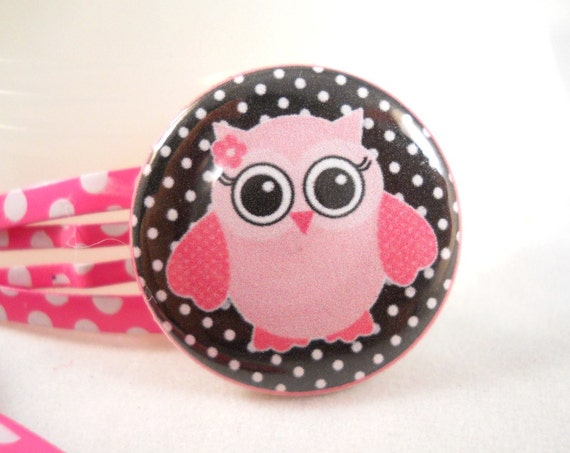 Owl Barrettes Hair Accessories for Girls Pink and Black Polka Dots Snap Clip Set of 2
