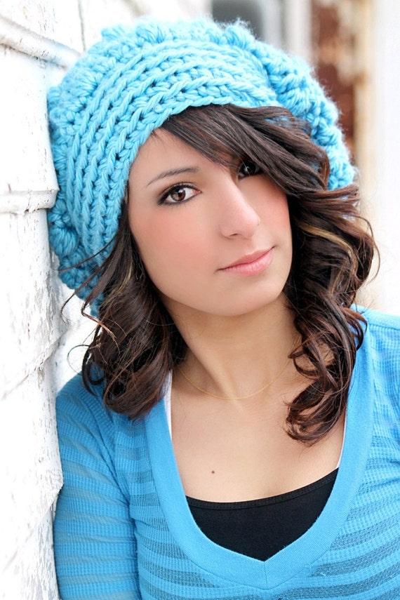 Bright Blue Slouchy Hat LAST ONE Womens Hat Trendy Teen Hat Chunky Beanie Crochet Hat Tween Hat Knit Hat Crochet Teen Girls Cute Hat
