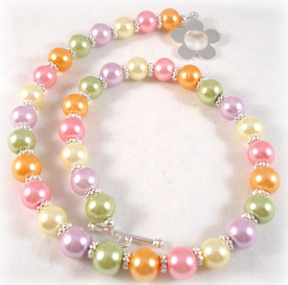 Childrens Jewelry Pastel Necklace Pink Purple Green Orange Yellow