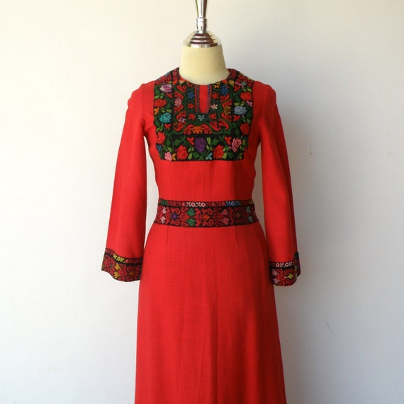 Vintage 1960s Ethnic Dress / Red Maxi Dress / Size XS S