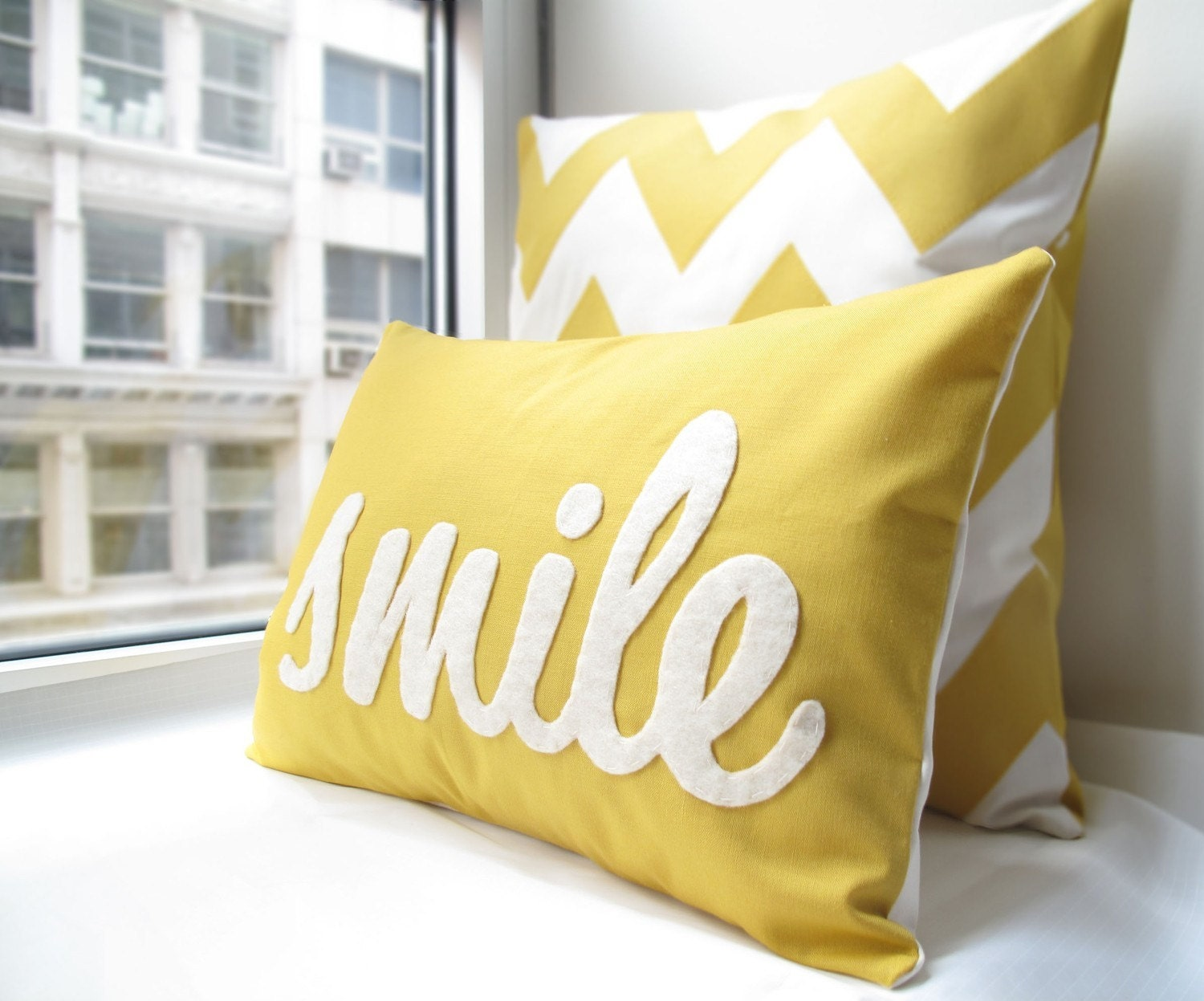 Smile pillow in yellow home and living decor and Pillow design ideas