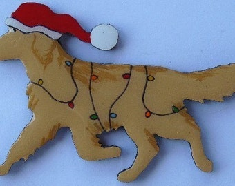 Golden Retriever Christmas Pin, Magnet or Ornament-Free Shipping-Color Choice-Hand Painted- Free Personalization  Available