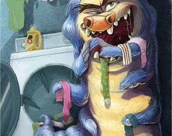 Sock Monster   Fine Art Print   Where do your socks go? Laundry Room, Children's, Nursery Art   8x10   11x14   13x19   Flimflammery