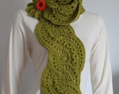 Sale 40% OFF Long Crochet Scarf Lace  Olive Knit   Scarf  with Flower Pin