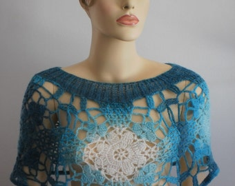 sale 20% off Crochet Lace Capelet in shades of turquoise - ready to ship
