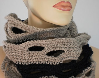Dark Blue and  Beige   Crochet Scarf - neck warmer - Infinity Scarf - Cowl Circle Scarf