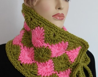 SALE 40% OFF Winter  Fashion -  Crochet Scarf Olive and Hot Pink Chunky  Scarf  - Neck warmer - Ready to ship
