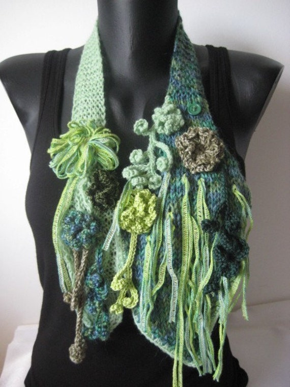 Scarf   Scarflette  in Shades of green Scarf necklace
