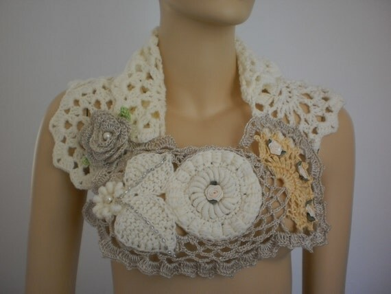 Lace Scarf  Capelet  - White Scarf - Crochet  Scarf- Fall Wedding - Fall Fashion - holiday accessories