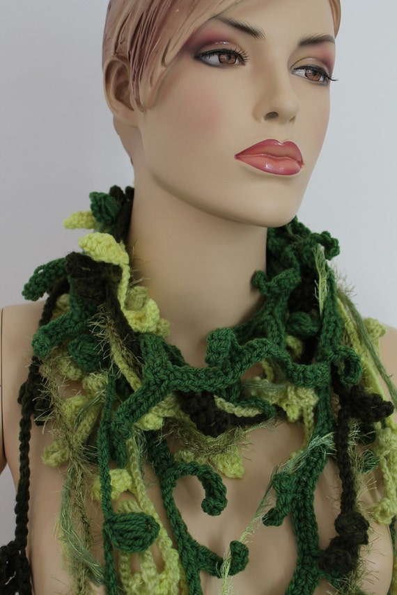 20% OFF Long Crochet Scarf - Lariat Scarf - Infinity Scarf in shades of green - Fall Fashion