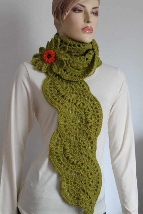 Long  Lace  Olive Green Crochet Scarf -  Knit   Scarf  with Flower Pin