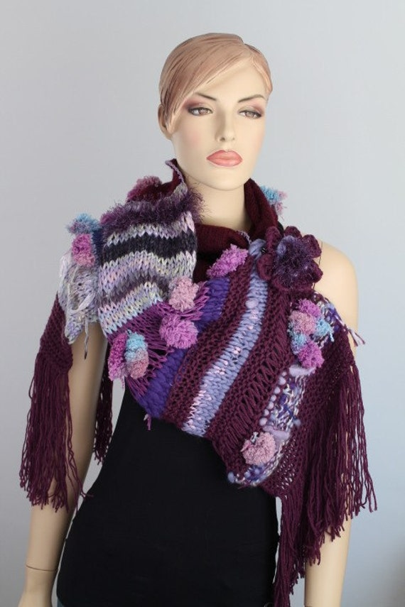 Boho Chic Hand Knitted Long Scarf Wrap in Shades of Plum  Lilac  Blue - Fall Fashion - Ready to ship