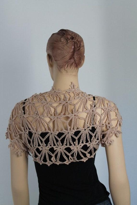 Crochet  Beige  Shrug  / Fall  Summer Fashion