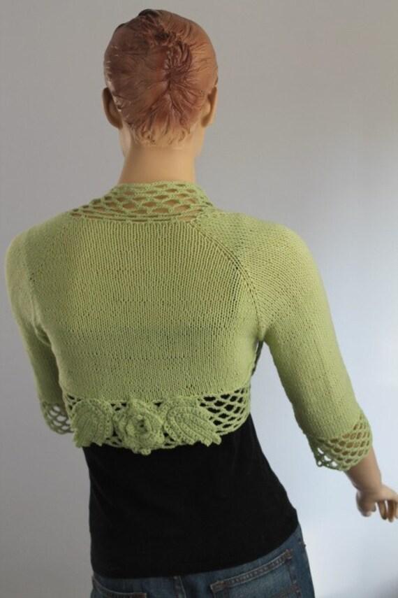 Pastel Green Hand Knitted Shrug Bolero  / Fall Fashion