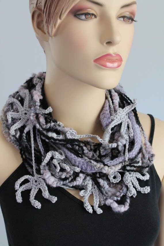 Chic, Boho, Hippie Crochet  Infinity Scarf / Loop Scarf / Scarf Necklace