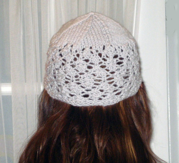 Knit Lacy Feminine Beanie  Hat in Pearl Gray Wool and Acrylic yarn