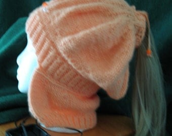 Knit Ponytail Hat with Neck Flap